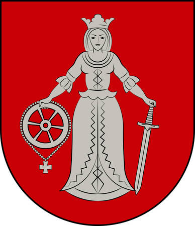 Coat of arms of Kuldiga is a town in western Latvia. Vector illustration