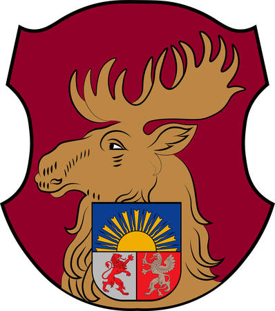 Coat of arms of Jelgava. It is the largest town in the region of Zemgale. Vector illustration