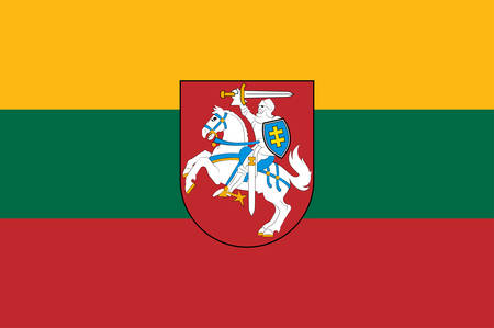Flag of Republic of Lithuania is a country in the Baltic region of northern-eastern Europe. Vector illustration Векторная Иллюстрация