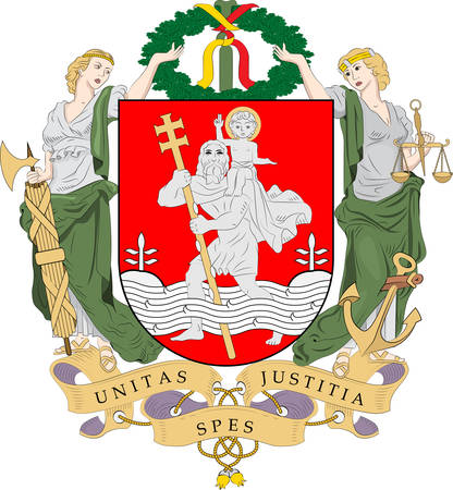 Coat of arms of Vilnius is the capital of Lithuania. Vector illustration
