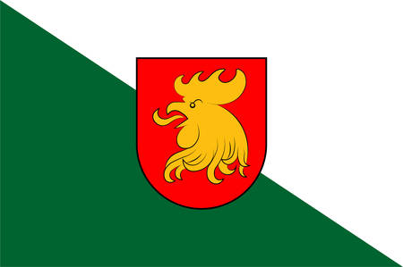 Flag of Madona is a town with town rights in the Vidzeme region of Latvia and is the center of the Madona municipality. Vector illustration