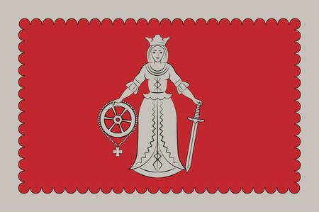 Flag of Kuldiga Municipality is a municipality in Courland, Latvia. Vector illustration Illustration