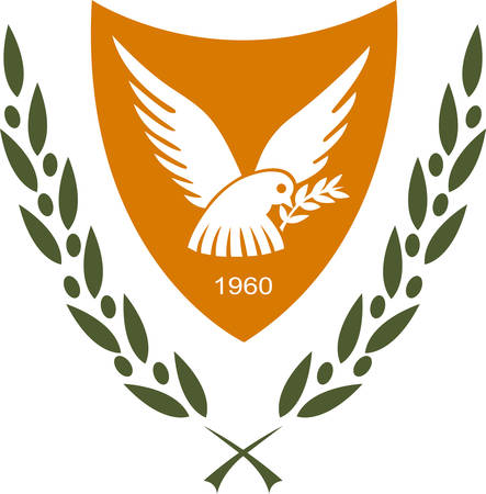 Coat of arms of Cyprus officially the Republic of Cyprus  is island country in the Eastern Mediterranean Sea. Vector illustration