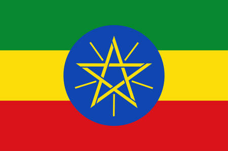 Flag of Federal Democratic Republic of Ethiopia is a country in the northeastern part of Africa, popularly known as the Horn of Africa. Vector illustration