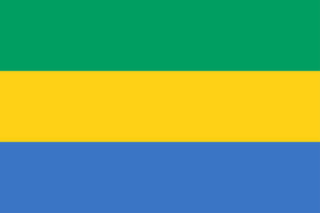 Flag of Gabon is a country on the west coast of Central Africa. Vector illustration  イラスト・ベクター素材
