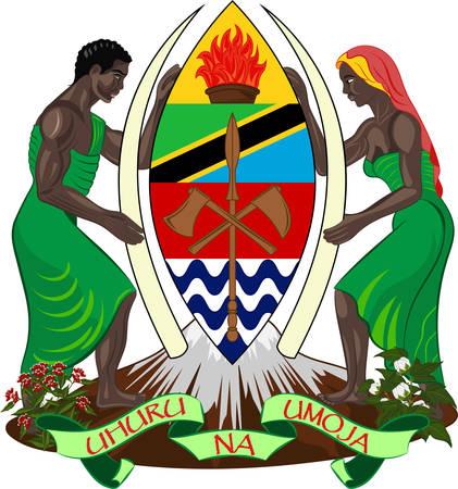 Wappen der Vereinigten Republik Tansania ist ein Land in Ostafrika innerhalb der afrikanischen Region der Großen Seen. Vektor-Illustration