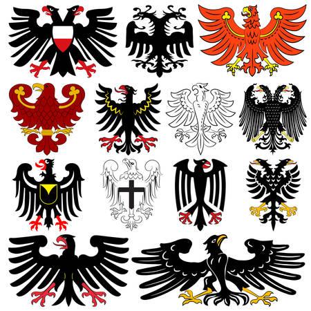 """Conjunto de águilas bicéfalas alemanas heráldicas. Ilustración vectorial de los autores y compiladores de """"Heráldica del mundo"""" Olga Bortnik, Ivan Rezko, 2008"""
