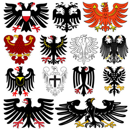 Set of heraldic german double-headed eagles. Vector illustration from the