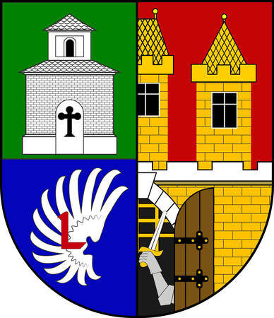 Coat of arms of Prague 18, formally the Prague 18 Municipal District, is a second-tier municipality in Prague. Vector illustration