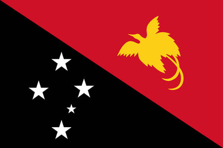 Flag of Independent State of Papua New Guinea, is an Oceanian country that occupies the eastern half of the island of New Guinea and its offshore islands in Melanesia, a region of the southwestern Pacific Ocean north of Australia. Vector illustration
