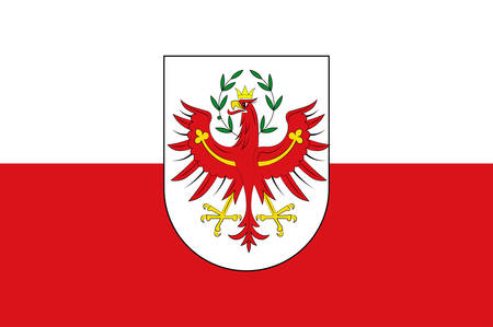 Flag of Tyrol is a federal state in western Austria. Vector illustration Illustration