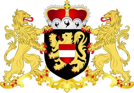 Coat of arms of Flemish Brabant is a province of Flanders, one of the three regions of Belgium. Vector illustration Ilustração