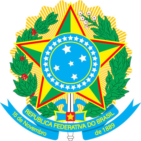 Coat of arms of Brazil officially the Federative Republic of Brazil is the largest country in both South America and Latin America. Vector illustration