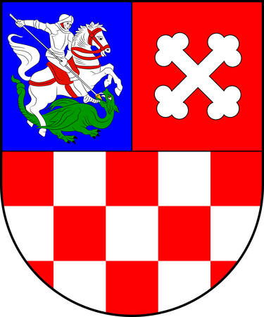 Coat of arms of Bjelovar-Bilogora County is a county in central Croatia. Vector illustration