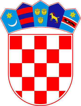 Coat of arms of Croatia officially the Republic of Croatia is a sovereign state situated at the crossroads of Central and Southeast Europe. Vector illustration