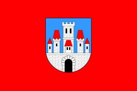 Flag of Krapina is a town in northern Croatia and the administrative centre of Krapina-Zagorje. Vector illustration Imagens - 122425330
