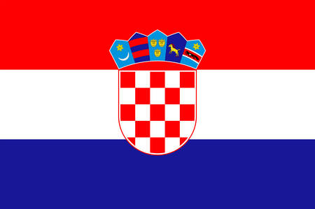 Flag of Croatia officially the Republic of Croatia is a sovereign state situated at the crossroads of Central and Southeast Europe. Vector illustration