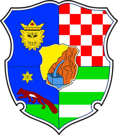 Coat of arms of Zagreb County is a county in central Croatia. Vector illustration