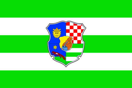 Flag of Zagreb County is a county in central Croatia. Vector illustration