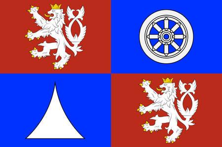 Flag of Liberec Region is an administrative unit of the Czech Republic. Vector illustration Ilustração
