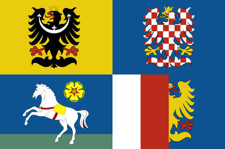 Flag of Moravian-Silesian Region is one of the 14 administrative Regions of the Czech Republic. Vector illustration