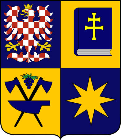 Coat of arms of Zlin Region is an administrative unit of the Czech Republic. Vector illustration