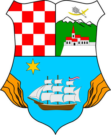Coat of arms of Primorje-Gorski Kotar County is a county in western Croatia. Vector illustration