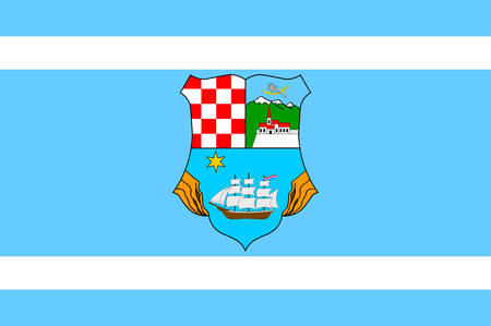 Flag of Primorje-Gorski Kotar County is a county in western Croatia. Vector illustration Illustration