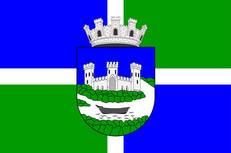 Flag of Sisak is a city in central Croatia. Vector illustration