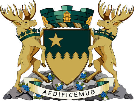 Coat of arms of Greater Sudbury, commonly referred to as Sudbury, is a city in Ontario, Canada. Vector illustration