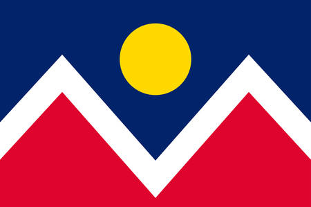 Flag of Denver officially the City and County of Denver, is the capital and most populous municipality of the U.S. state of Colorado. Vector illustration