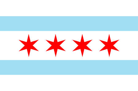 Flag of Chicago City is located on the shores of freshwater Lake Michigan, and is the third most populous city in the United States. Vector illustration