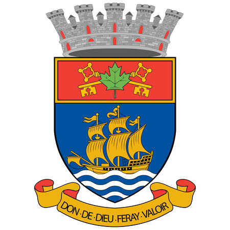 Coat of arms of Quebec City is the capital city of the Canadian province of Quebec. Vector illustration
