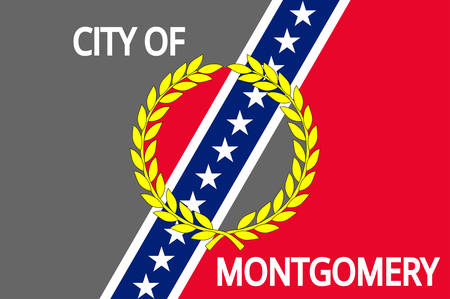 Flag of Montgomery is the capital city of Alabama, United States. Vector illustration