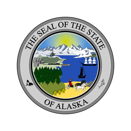 Coat of arms of Alaska state, United States. Vector illustration