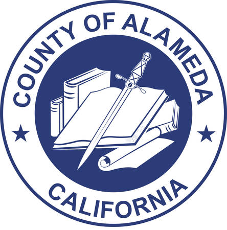 Coat of arms of Alameda County is a county in the state of California in the United States. Vector illustration
