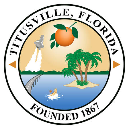 Coat of arms of Titusville is a city and the county seat of Brevard County, Florida, United States. Vector illustration Vektorové ilustrace
