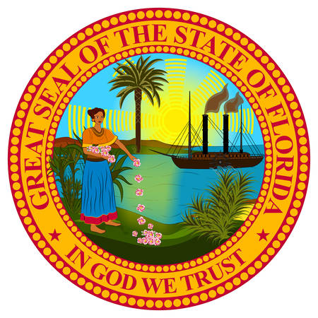 Coat of arms of Florida is a state of United States. Vector illustration