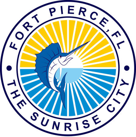 Coat of arms of Fort Pierce is a city in and the county seat of St. Lucie County, Florida, United States. Vector illustration