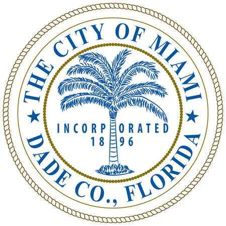 Coat of arms of Miami is a city of Florida, United States. Vector illustration Illustration
