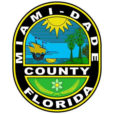 Coat of arms of Miami-Dade County is a county in the southeastern part of the U.S. state of Florida. Vector illustration
