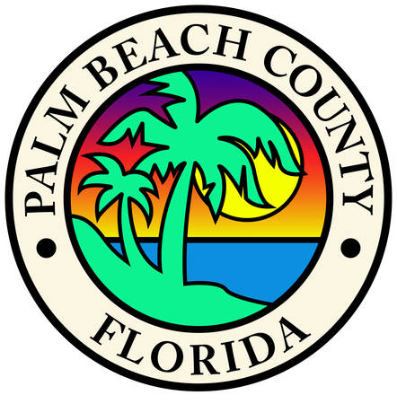 Coat of arms of Palm Beach County is a county in the state of Florida that is directly north of Broward County. Vector illustration
