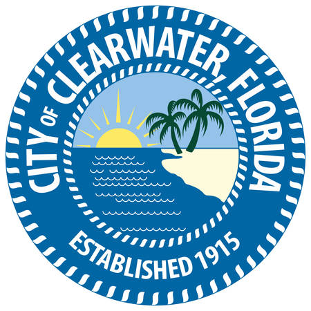 Coat of arms of Clearwater is a city located in Pinellas County, Florida, United States. Vector illustration Illustration