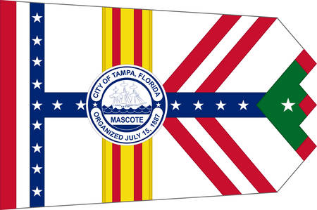Flag of Tampa is a major city in, and the county seat of, Hillsborough County, Florida, United States. Vector illustration Illustration