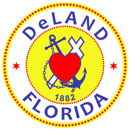 Coat of arms of DeLand is a city in the U.S. state of Florida. It is the county seat of Volusia County. Vector illustration