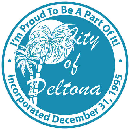 Coat of arms of Deltona is a city in the U.S. state of Florida and the most populous city in Volusia County. Vector illustration