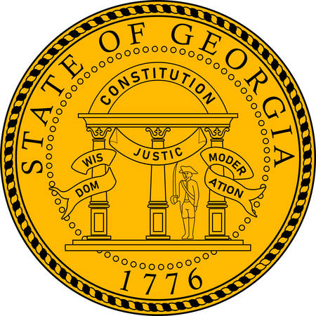 Coat of arms of Georgia is a state of United States. Vector illustration