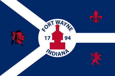Flag of Fort Wayne is a city in the U.S. state of Indiana and the seat of Allen County, United States. Vector illustration