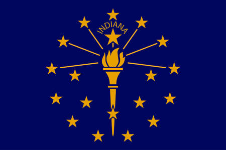 Flag of Indiana is a U.S. state located in the Midwestern and Great Lakes regions of North America. Vector illustration