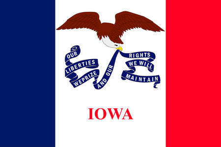 Flag of Iowa state of United States. Vector illustration